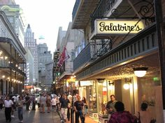 Galatoires, New Orleans. Cannot miss when you are in the Big Easy.  Must have the souffle potatoes, trout almondine and bread pudding. Also, the best lamb chops on planet earth and the stuffed eggplant- so so amazing.