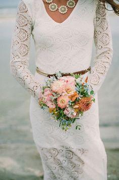 Pink boho bouquet // Photo by  Lauren Fair Photography, via http://theeverylastdetail.com/beach-inspired-preppy-boho-wedding-inspiration/