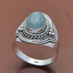 AQUAMARINE 925 STERLING SILVER DESIGNER RING 5.24g DJR7828 SZ-8.5 #Handmade #Ring