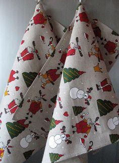 Linen Dish Towels Tea Towels Rudolf Reindeer by Initasworks