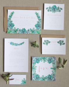 Handpainted wedding stationery - how GORGEOUS is this suite?!