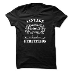 VINTAGE 1967 Aged To Perfection T-Shirts, Hoodies. GET IT ==► https://www.sunfrog.com/Birth-Years/VINTAGE-1967-Aged-To-Perfection-T-shirt--Black-14408798-Guys.html?id=41382