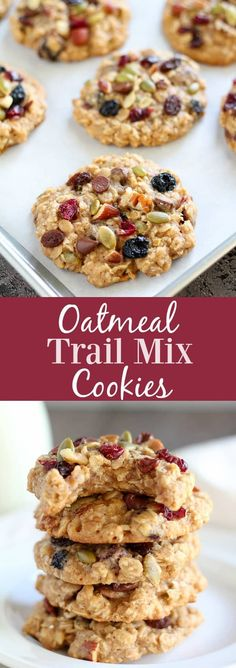 Oatmeal Trail Mix Cookies - Healthier oatmeal cookies that are soft and chewy, sweetened with honey, and filled with your favorite trail mix. A wholesome and delicious treat for lunchboxes, snacking, or dessert. #cookies #oats #oatmeal #trailmix #dessert