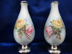 Guilloche and sterling silver vases