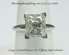 """A very nice 3 carat Princess Cut diamond set in a Platinum """"Tiffany Style"""" solitaire band  BloomingBeautyRing.com  (213) 222-8868"""