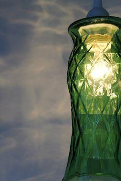 Green Diamonds  Hanging Pendant Lighting Fixture  by BootsNGus, $70.00
