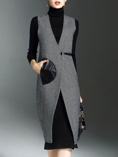 Shop joy&joso white/black sleeveless houndstooth midi dress here, find your midi dresses at dezzal, huge selection and best quality. Lovely Dresses, Beautiful Outfits, Iranian Women Fashion, Fashion Outfits, Womens Fashion, Fashion Trends, Long Vests, Mode Hijab, Office Fashion