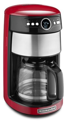 KitchenAid Empire Red Programmable Coffee Maker at Lowe's. The KitchenAid Programmable Coffee Maker with Glass Carafe, in empire red, features a removable water tank that is easily accessible and Espresso Cups, Coffee Cups, Espresso Kitchen, Drip Coffee, Red Coffee Maker, Mixer, Clock Display, Coffee Store, Cafetiere
