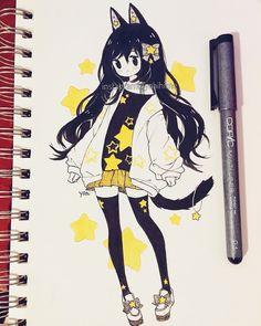 Likes, 295 Comments - Yoai / Anny / Cicishu ( Anime Art Girl, Manga Art, Manga Drawing, Kawaii Drawings, Cute Drawings, Kawaii Art, Kawaii Anime, Arte Copic, Creation Art