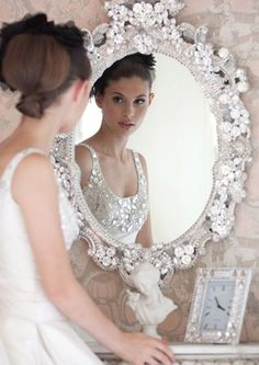 Great wedding photo idea - but you need a beautiful mirror like this one