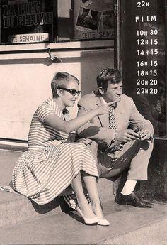 jlgplusjlg:  Jean Seberg & Jean Paul Belmondoon the set of A Bout de souffle (1960)