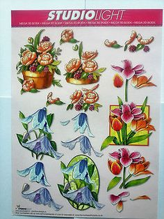 Mixed #flowers blus,orange,purple-studio ligh t- 1 decoupage #sheet + #2cardstock,  View more on the LINK: http://www.zeppy.io/product/gb/2/111995605430/