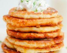 Cheesy Potato Pancakes for dinner tonight. Leftover Mashed Potato Pancakes, Thyme Recipes, Vegetarian Cookbook, Food Obsession, Cheesy Potatoes, Pancakes And Waffles, Sweet Potato Recipes, Vegan Snacks, Appetizer Recipes