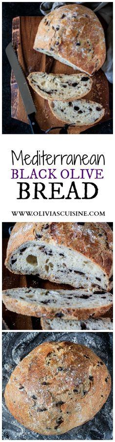 Mediterranean Black Olive Bread | www.oliviascuisine.com | A delicious no-knead crusty bread made with Mezzetta Kalamata Olives! #sponsored