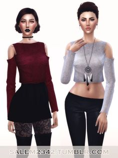 Salem2342: Cold Shoulders Crop Jumper • Sims 4 Downloads