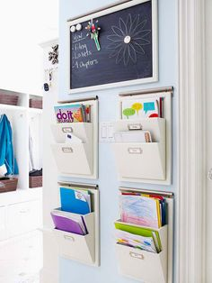 Wall-mounted pockets—one for each family member—keep mail, homework, and other papers separate, organized, and all in one place. A magnetic chalkboard above alerts everyone to the week's schedule.