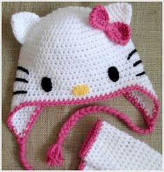 """I was asked recently to make a Hello Kitty earflap hat and matching fingerless gloves. That's not really what I """"do"""", but it's something..."""