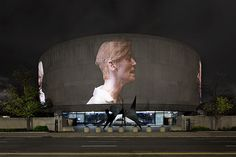 #TildaSwinton appears in Doug Aitken's SONG 1. Courtesy of FCharles Photography    Because last night, the Hirshhorn Museum's debut of SONG 1, a  360-degree projection screen work by the internationally acclaimed Los Angeles artist Doug Aitken, briefly changed all that