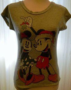 Women's Disney Tshirt Mickey Minnie Christmas Mistletoe Gray Size XS #Disney #GraphicTee