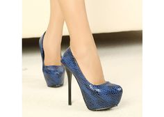 $15.39 Party Women's PU Leather Pumps With Sexy Stiletto Heel Design (DEEP BLUE,36) | Sammydress.com