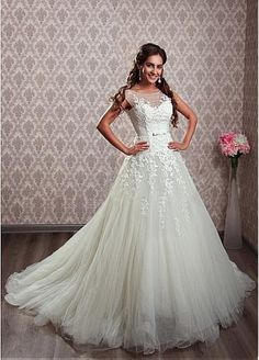 Elegant Tulle Bateau Neckline A-line Wedding Dresses with Beaded Lace Appliques