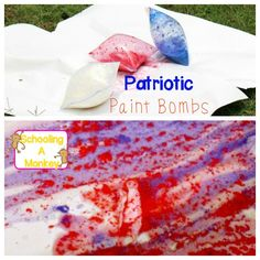 Learn about chemical reactions in this highly visual STEM activity for kids using vinegar and baking soda to create patriotic paint bombs. Summer science!