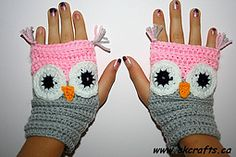 Ravelry: Fingerless Owl Mittens free pattern by Andrea Kefeder