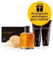 Presente Natura Essencial - Deo Parfum + Gel após Barba + Gel para Barbear + Sabonete + Embalagem Desmontada