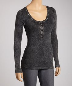 Take a look at this Charcoal Lace Studded Top - Women by Katydid Collection on #zulily today!