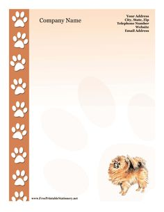 Use this free, printable stationery for your personal or company information. The picture of a fluffy pomeranian and the brown border pawprints make it perfect for dog lovers, petsitters and animal care professionals. Free to download and print