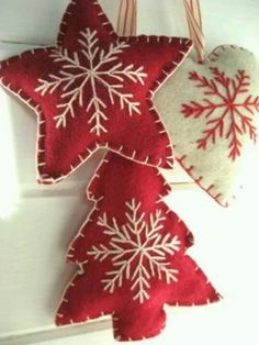 Felt, puffy ornaments (hearts, trees, stars...any shape you can come up with), with embroidered snowflakes. Can stuff w/ stuffing or potpourri!