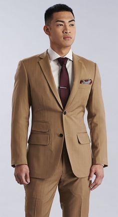 The Tan Windowpane Premium Suit Mens Fashion Suits, Mens Suits, Men's Fashion, Mens Clothing Styles, Clothing Items, Tan Suit Wedding, Men Formal, Formal Wear, Suit Jacket
