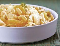 Salada cítrica de feijão branco e laranja