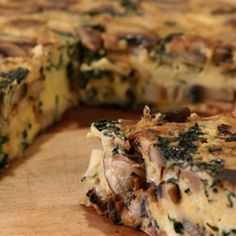 Try this Mushroom and Kale Frittata recipe by Chef Janella Purcell . This recipe is from the show Good Chef / Bad Chef. Spinach Frittata, Frittata Recipes, Quiche, Baby Spinach, Chef Recipes, Vegetarian Recipes, Cooking Recipes, Egg Recipes, Recipies