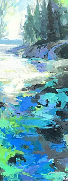 Peace and Quiet, acrylic landscape painting by Becky Holuk | Effusion Art Gallery + Glass Studio, Invermere BC Mountain Paintings, Nature Paintings, Landscape Paintings, River Painting, Boat Painting, Spring Landscape, Beach Landscape, Lake Art, Traditional Paintings