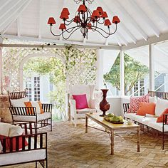 Coastal Living - Use colorful accents such as pillows and light coverings to add punches of color that can be switched out easily, depending on occasion or mood. Add shutters or lattice to create character, but don't completely close off an outdoor space. An arbor-like roof with Plexiglas gives the impression of open air but keeps rain out.