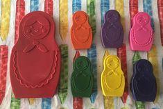 Nesting doll crayons. Matryoshka crayons