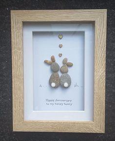 Handmade pebble picture happy anniversary gift honey bunny rabbits mothers day