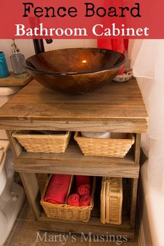 Fence Board Bathroom Cabinet from Marty's Musings
