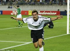Man of the moment: Klose celebrates a goal against the Republic of Ireland at the 2002 Wor...