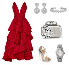 """Untitled #5"" by bmhmoud on Polyvore featuring Oscar de la Renta, Jimmy Choo, Allurez and Audemars Piguet"