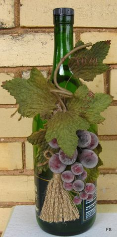 Wine Bottle Decoration Grape Kitchen Decor by PackagePresents, $15.00, Etsy