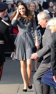 Kate is such a fashion icon for me! For her visit to the Dulwich Picture Gallery in South London, the Duchess chose to go gray in this pleated number from Orla Kiely.