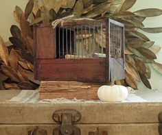 Vintage Antique French Bird Cage / Wood Bird Cage / Country French Farmhouse