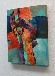 """Desert Song"" 10x8, mixed media collage by Carol Nelson This painting is a collage featuring a variety of colorful hand painted pape..."