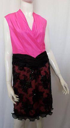Vintage 80's JEAN-LOUIS SCHERRER Boutique Paris Silk taffeta and beaded lace sleeveless shift dress Black Lace Skirt, Sequin Appliques, Silk Taffeta, Pink Silk, Black Sequins, Beaded Lace, Lace Overlay, Floral Lace, Hot Pink