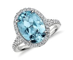 Gorgeous...   -- Aquamarine and Micropavé Diamond Halo Ring in 18k White Gold (3.90 ct) | Blue Nile
