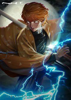ArtStation - Demon Slayer - Zenitsu Agatsuma - Fanart, CHA WAK Demon Slayer, Slayer Anime, Fanarts Anime, Anime Characters, Fictional Characters, Mundo Comic, Fan Art, Gaara, Anime Sketch