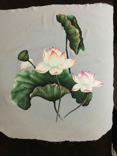 New Flowers Drawing Loto Ideas Korean Painting, Chinese Painting, Chinese Art, Lotus Painting, Fabric Painting, Watercolor Paintings, Hand Painted Sarees, Lotus Art, Asian Paints