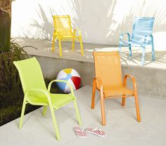 Pack of 2 Chairs Yellow Resol Childrens Kids Garden Outdoor Plastic Chair Childs Furniture